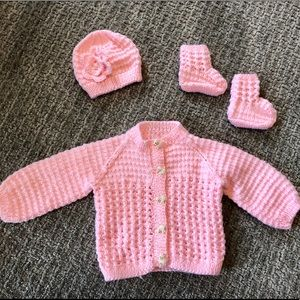 NWOT Hand-Knit Baby Sweater, Hat & Booties.